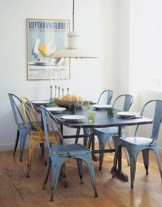 Loftowy st ubot vintage designature for Duck egg dining room ideas
